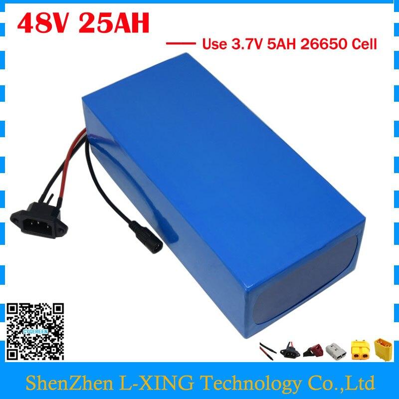 ЕС нет налога 2000Вт 48 В 25AH электрический велосипед батарея 48v 25AH e-самокат использовать аккумулятор 3.7 V 5ah батареи 26650 сотовый БМС 50А