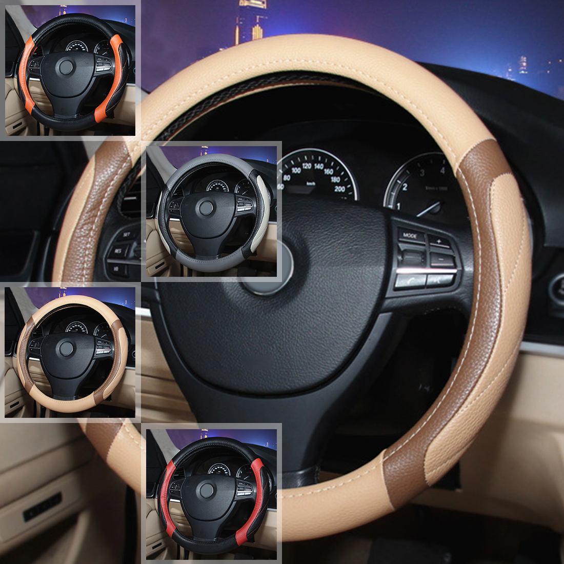 Dewtreetali Car Steering Wheel Cover 38cm Breathable Leather Sports Steering-wheel Protector Car Styling for Audi BMW VW Nissan