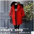 Otoño ropa de bebé de lana de invierno de los niños chaquetas chicas ropa de abrigo rojo ropa de fiesta largos ocasionales estilo americano traje para 2-7Y