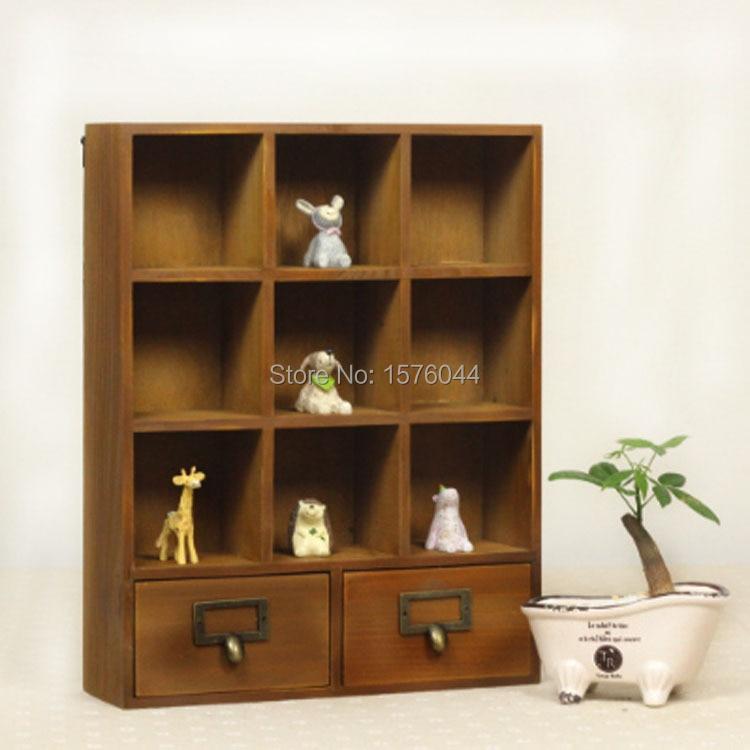 1 unid zakka almacenamiento vintage caja 9 Carcasas + 2 cajones casa ...