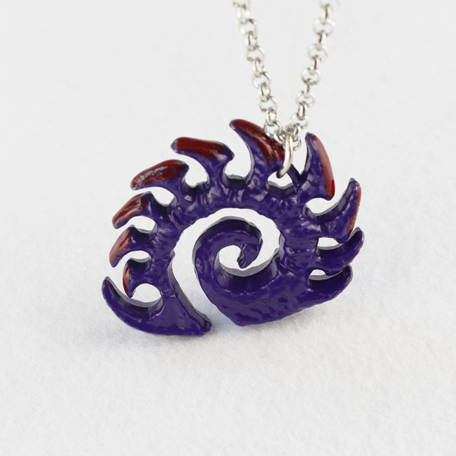 Starcraft necklace Zerg medallion Handmade epic pendant logo Sarah Kerrigan purple coated necklace good quality best gift 4