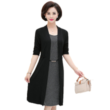Women Dresses Elegant Fake Two Pieces Vestidos Black Stripe Lace Patchwork Robe Office Outfits Female Business Casual Dress 2019