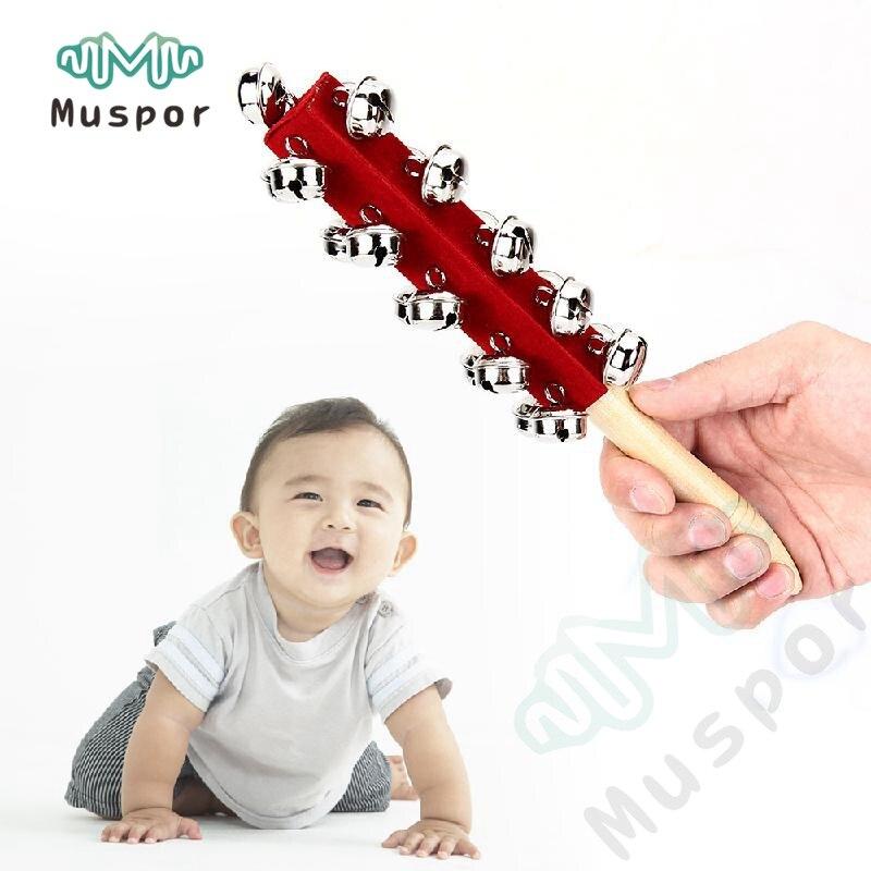 Baby-rassel Spielzeug Kinder Pram Kinderbett Holzgriff Handbell Stick Shaker Rassel Für Kinder Orff-instrumente 100% Original