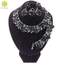 Luksusowy styl dubajski ślubne zestawy biżuterii kryształowe oświadczenie ślubny srebrny platerowany naszyjnik kolczyki zestaw prezent na boże narodzenie dla kobiet