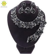 Luxurious Dubai Style Wedding Jewelry Sets Crystal Statement Bridal Silver Plated Necklace Earrings Set Christmas Gift for Women