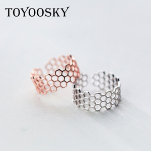 TOYOOSKY Elegant Lady Hollow Honeycomb Shape Adjustable Rings New S925 Silver Jewelry Open Ring Women