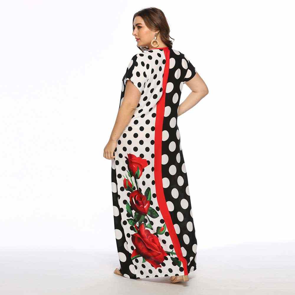 d2b8ca5396497 2019 Summer Fashion Polka Floral Printed Women Maxi Dress Plus Size Short  Sleeve Muslim Abaya Arabic Islamic Dubai Robe VKDR1555