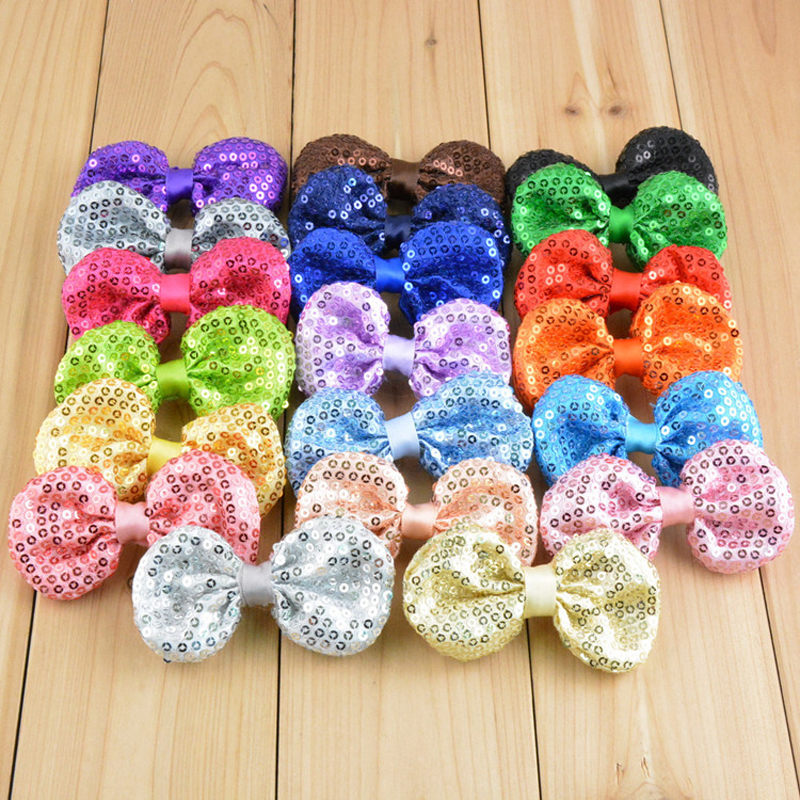 120pcs lot 21colors 9cm DIY Shiny Sequin Bows Knot Without Clips Fashion Applique Headband Bows For