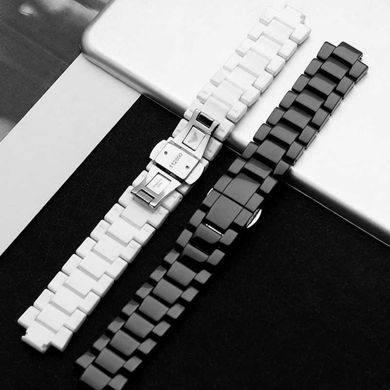 High-End Hitam/Keramik Putih Tali 22 Mm X 11 Mm Watchband Tali Keramik untuk AR1421 AR1424
