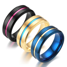 ZTLXY Classic Groove Rings Black Blue Gold Stainless Steel Rings For Men women Charm Engagement Rings Male Jewelry wholesale charm stainless steel rings fashion golden