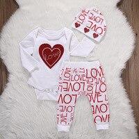 Hot Newborn Infant Baby Boy Girl Clothes Love Heart Bodysuit Romper Pant Hat 3PCS Outfit Spring