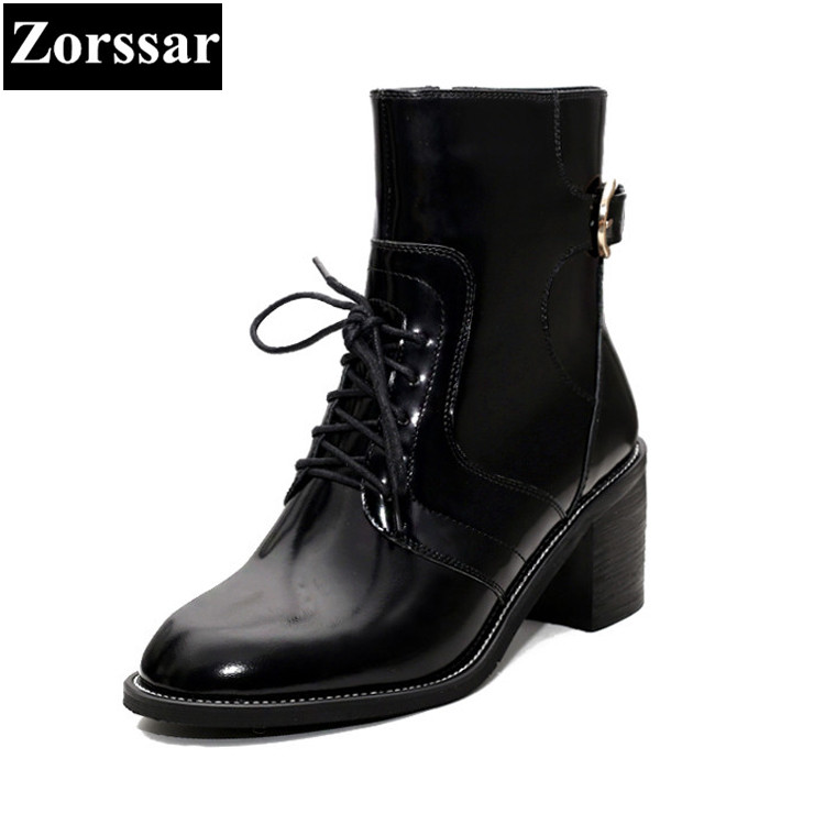 {Zorssar} 2017 NEW autumn winter fur Womens Boots Genuine Leather thick heel ankle Motorcycle boots women high heels shoes zorssar brands 2018 new arrival fashion women shoes thick heel zipper ankle chelsea boots square toe high heels womens boots