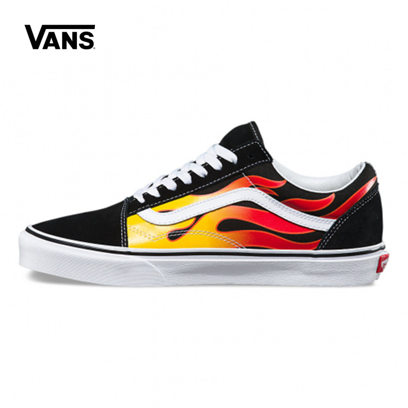 все цены на Original Innovative Vans Men's and Women's Classic Flame Old Skool Skateboard Sneakers Canvas vans shoes