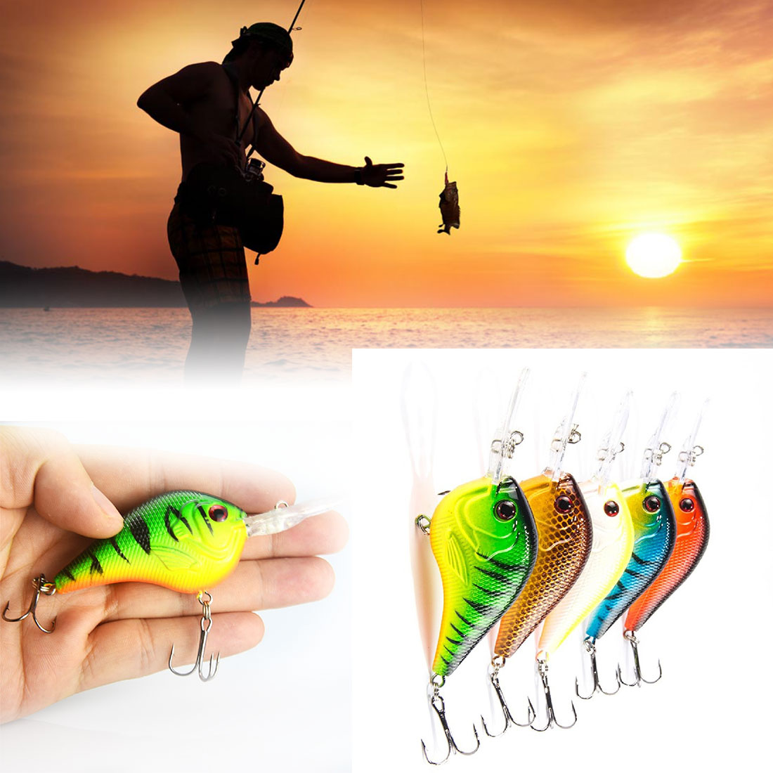 Good 5Pcs Fishing Lure Deep Swimming Crankbait 9.5cm11g Hard Bait 5 Colors Available Tight Wobble Slow Floating pesca Tackle
