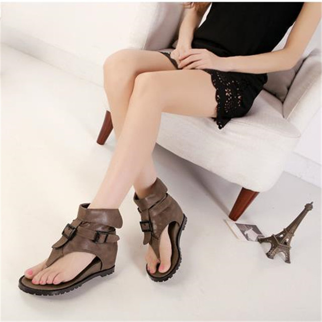 Summer comfortable flat sandals buckle high flip-flop herringbone women's wedges shoes vintage black leather shoes