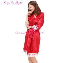 2017 Newest China Red Satin Silk Lace Pajamas Charm Red Bridal Nightgown Or Sexy Robe Kimono Bathrobe Sexy Red Silk Dressinggown