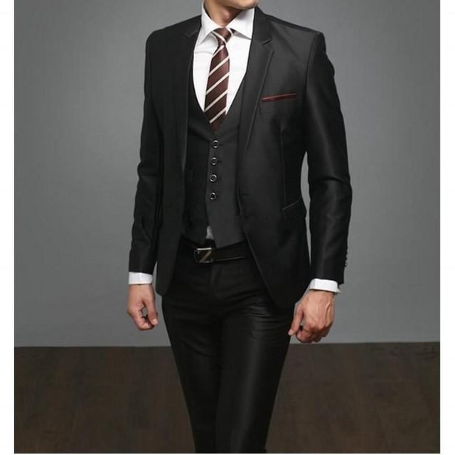 Envío Gratis Negro Hombre Caballero Traje 3 Unidades Set Esmoquin Padrino de Boda de Los Hombres Traje (chaqueta + Pant + vest) de La Venta caliente