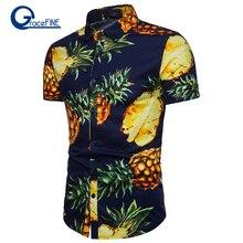 a3ab99dd32c Print Pineapple Men Shirt cotton Male Turn Down Collar Short Sleeve Shirt  Vocation Summer Hawaiian Shirt