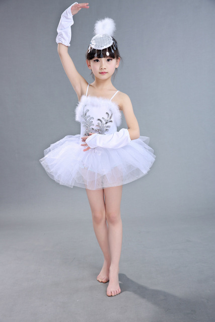 cda4c68cc Girls Ballet Tutu Dance Dress Children White Ballet Dancewear Kids ...
