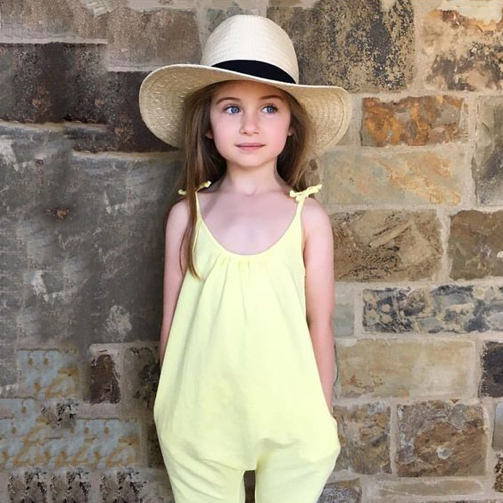 Baby Girls Straps Jumpsuit Summer Soft Cotton Solid Jumpsuit Niños - Ropa de ninos