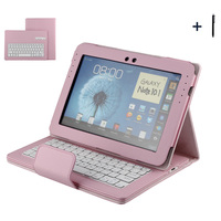 Bluetooth Keyboard For Samsung Galaxy 10.1 N8000 Wireless Keyboard Case For Samsung Galaxy 10.1 Tablet Flip Leather Cover +Pen