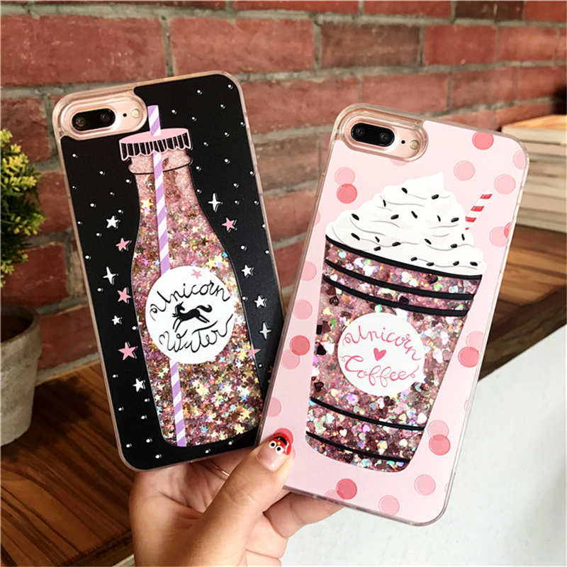 girls bottle quicksand case for iphone 7 case silicone TPU PC Dynamic liquid glitter cover for iphone X 6 6s 7 8 plus phone Case