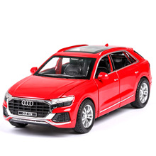 цены 1:32 diecast alloy car model Q8 SUV simulation sound and light pull back car children's toy car ornaments collection gift
