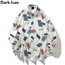 Dark Icon Poker Full Printed Harajuku Style Men's Shirts Turn-down Collar Autumn Hawaiian Men Street