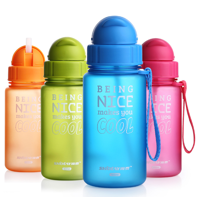 400ML Feeding cup Baby bottle with straw Portable Rope spill proof children`s Cup plastic bottle for kids drinking water copo