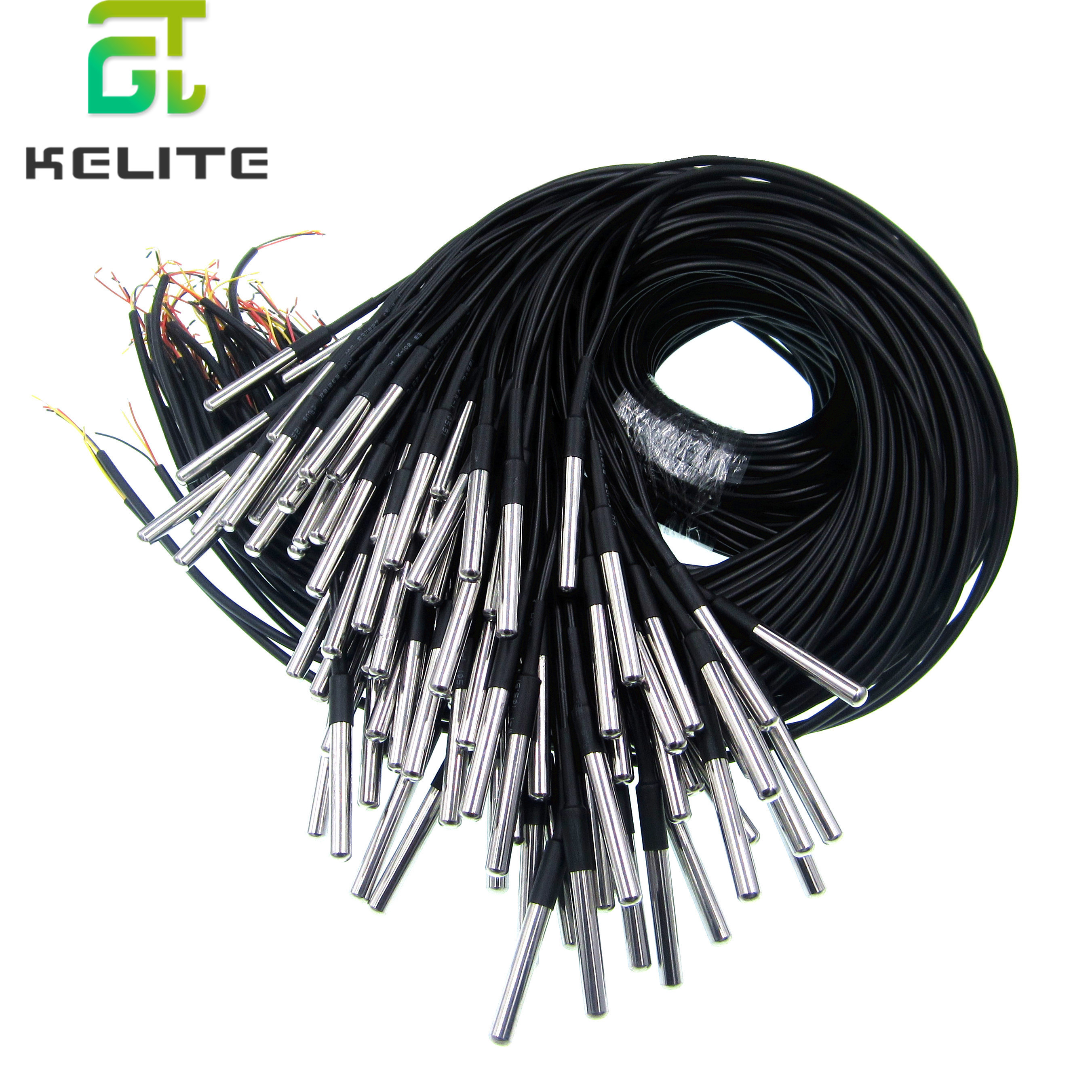 20pcs/lot Stainless Steel Package Waterproof DS18b20 Temperature Probe Temperature Sensor 18B20
