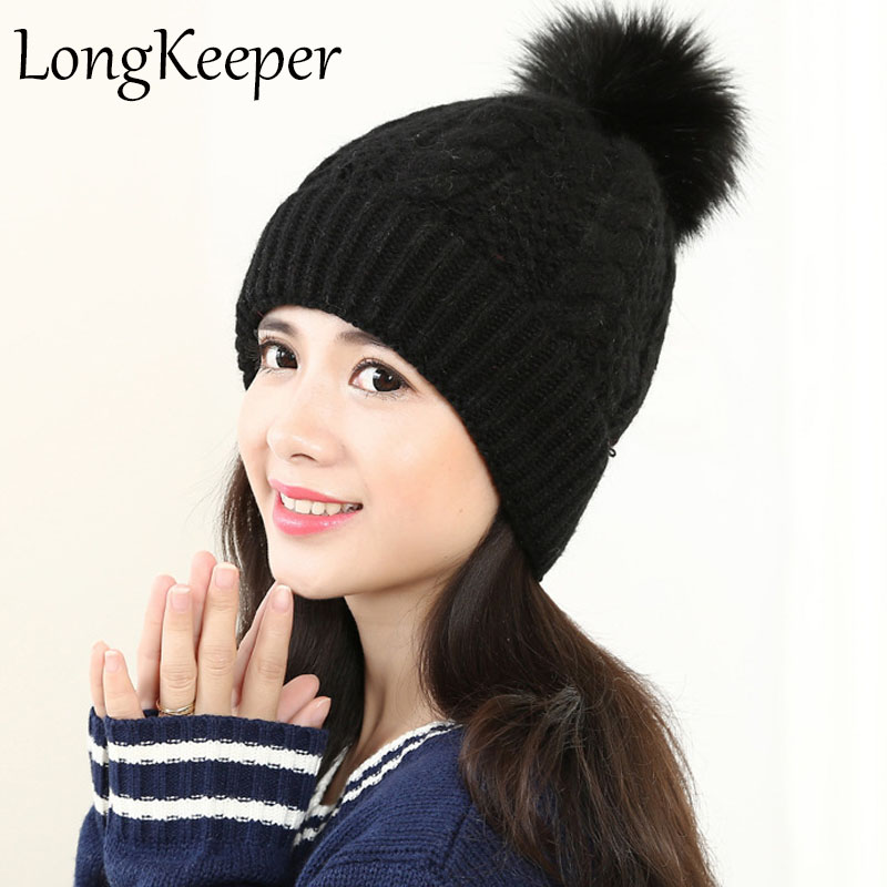 LongKeeper Mink and Fox Fur Pom Ball Winter Hat For Women Girl's Wool Hats Knitted Cotton Beanies Cap Brand New Thick 4pcs new for ball uff bes m18mg noc80b s04g