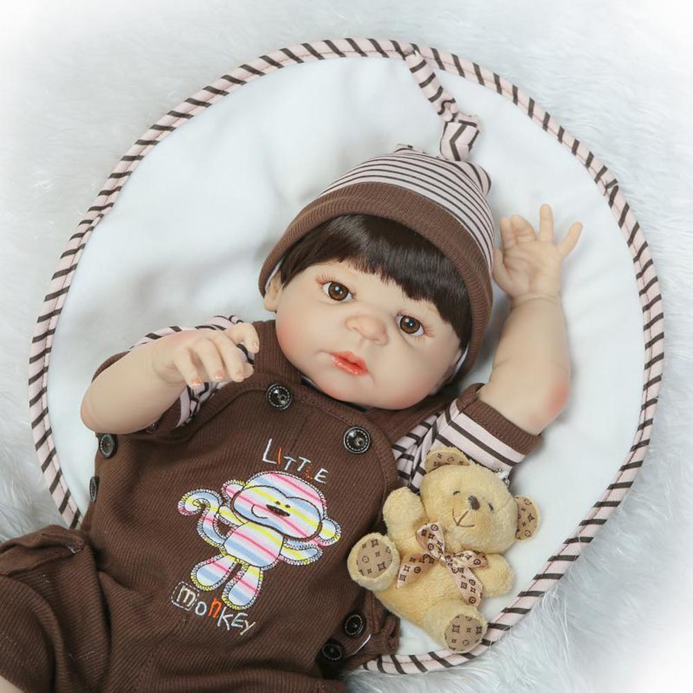 NPK 56cm Lifelike Reborn Doll Set Silicone Boy Baby Newborn Dolls for Kids Playmate Gift M09 npk 56cm lifelike reborn doll set silicone boy baby newborn dolls for kids playmate gift bm88