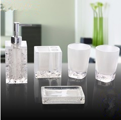 Ice Patterned Elegant Bathroom Sets Fashion Luxury Accessories Soap Dish Bottle Toothbrush Holder Cup