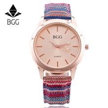 BGG Новый Известная Марка Женщины Розовое Золото Повседневная Кварцевые Часы Женщины Многоцветная Ткань Lether Ремень Платье Часы Relogio Feminino Горячие