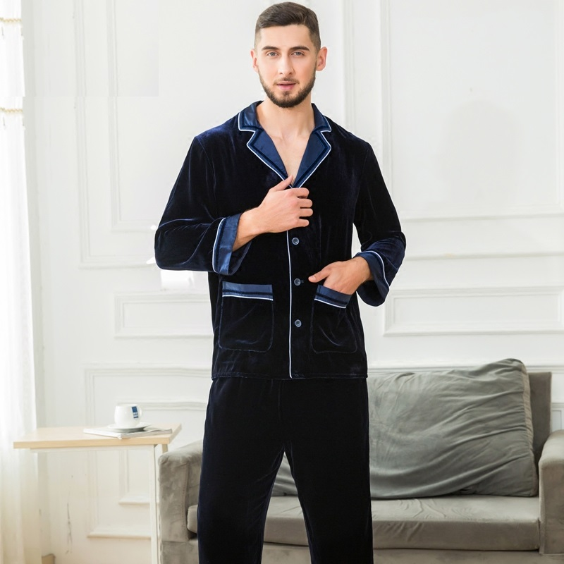 Male Pajama Sets Silk For Winter Pajamas Men Thick Fleece 100% Silk Pajama Sets Luxury Warm Sleepwear Solid Suits Home Clothes