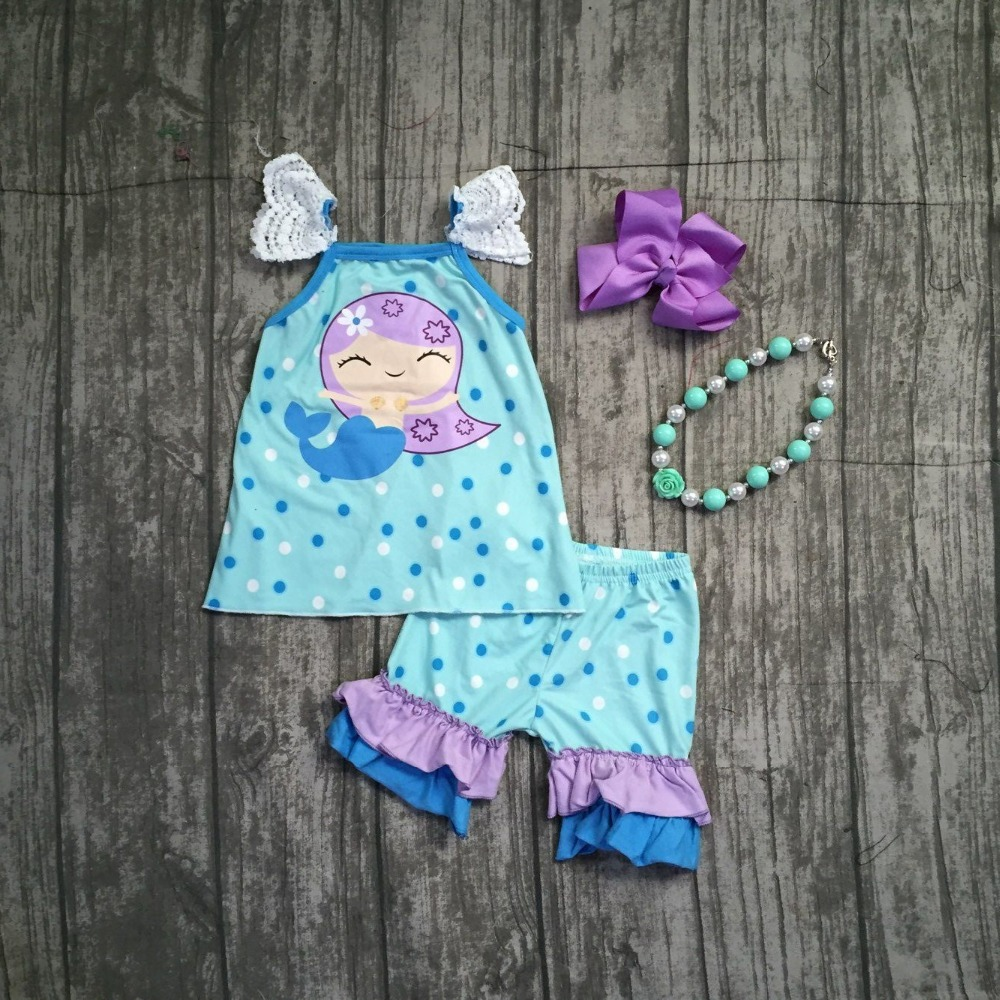 2018 summer outfits baby girls clothing boutique blue mermaid polka dot milk silk cotton ruffles shorts set match accessories new girls outfit be a flamingo floral coral mint kids boutique shorts sets ruffles cotton clothing match with accessories