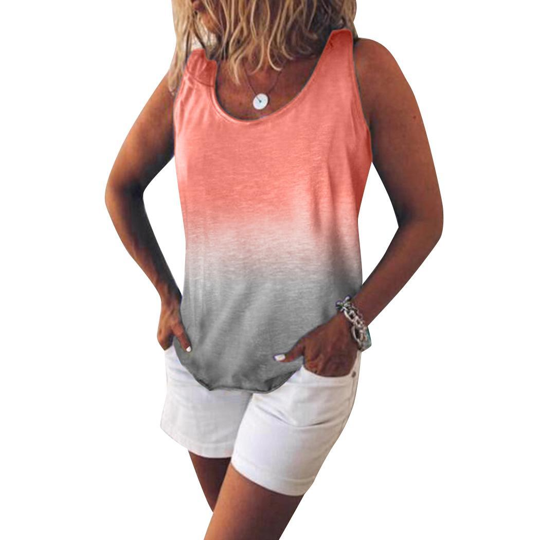 New Fashion Women Casual O-Neck Sleeveless Gradient Color Loose Regular Pullover, None Vest(China)