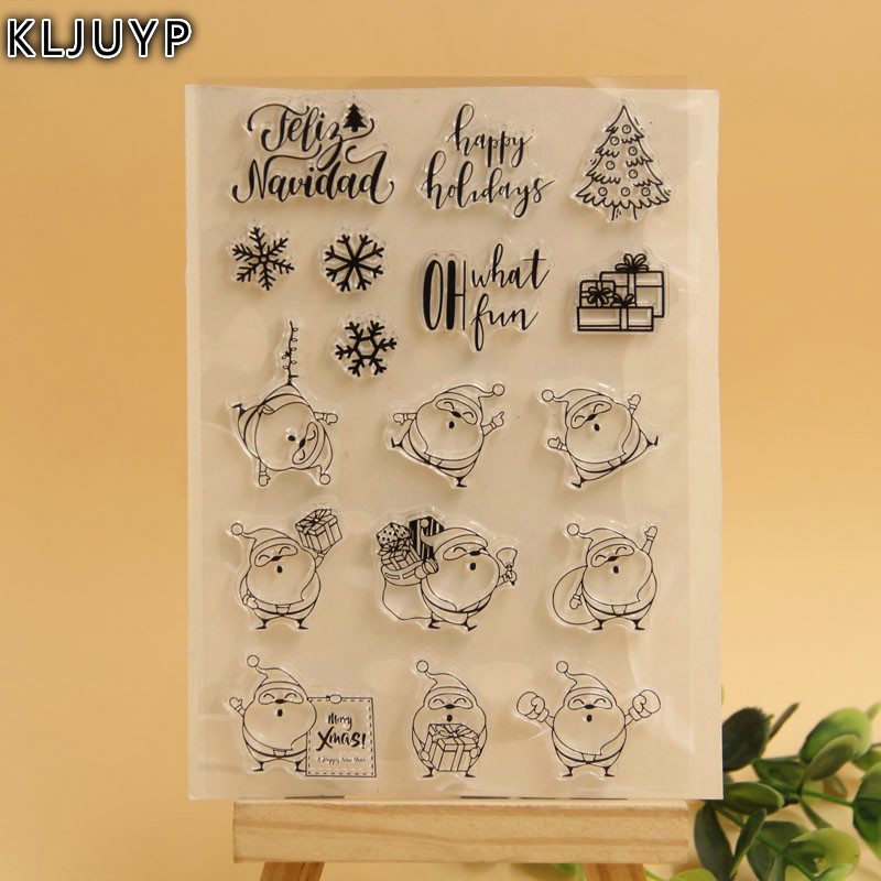 KLJUYP Lovely Santa Claus Transparent Clear Silicone Stamp/Seal for DIY scrapbooking/photo album Decorative clear stamp sheets lovely bear and star design clear transparent stamp rubber stamp for diy scrapbooking paper card photo album decor rm 037