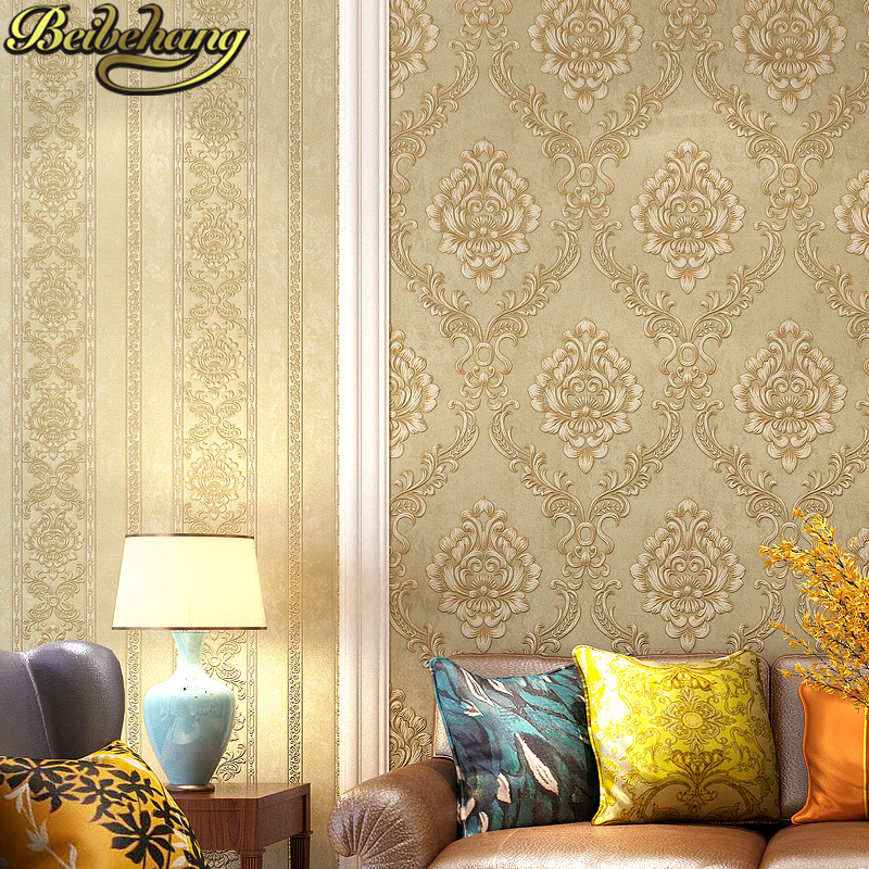beibehang 3D Embossed stripes wall paper Home Decoration European non-woven wallpaper for living room bedroom Damascus backdrop beibehang non woven wallpaper rolls pink love stripes printed wall paper design for little girls room minimalist home decoration