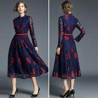 Vestido de encaje floral manga larga vintage 2