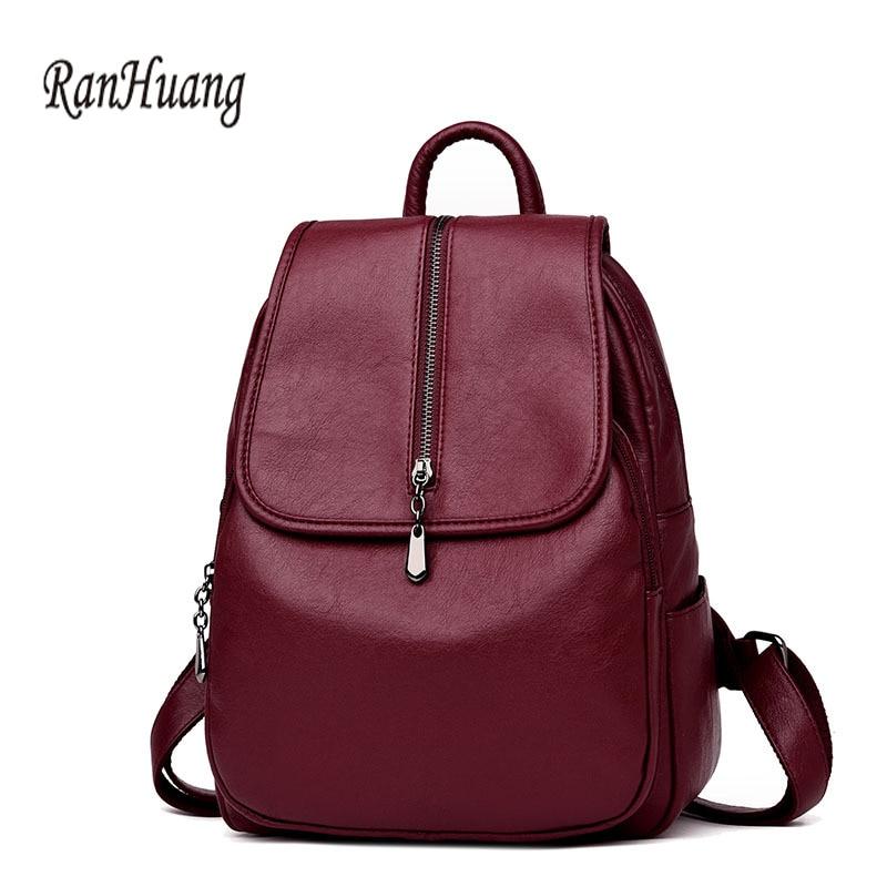 RanHuang nouveau 2018 femmes en cuir véritable sac à dos de haute qualité mode sac à dos noir sacs en peau de mouton sacs filles sacs de voyage
