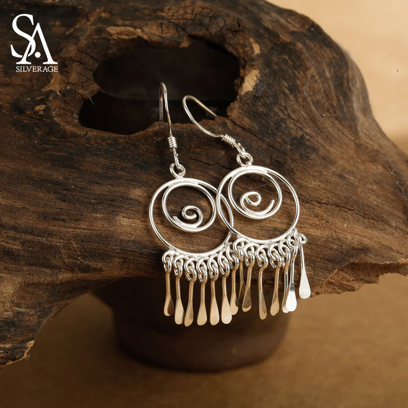 Sa silverage nyata 925 sterling silver anting vintage etnik rumbai drop earrings perhiasan panjang untuk wanita fashion perhiasan
