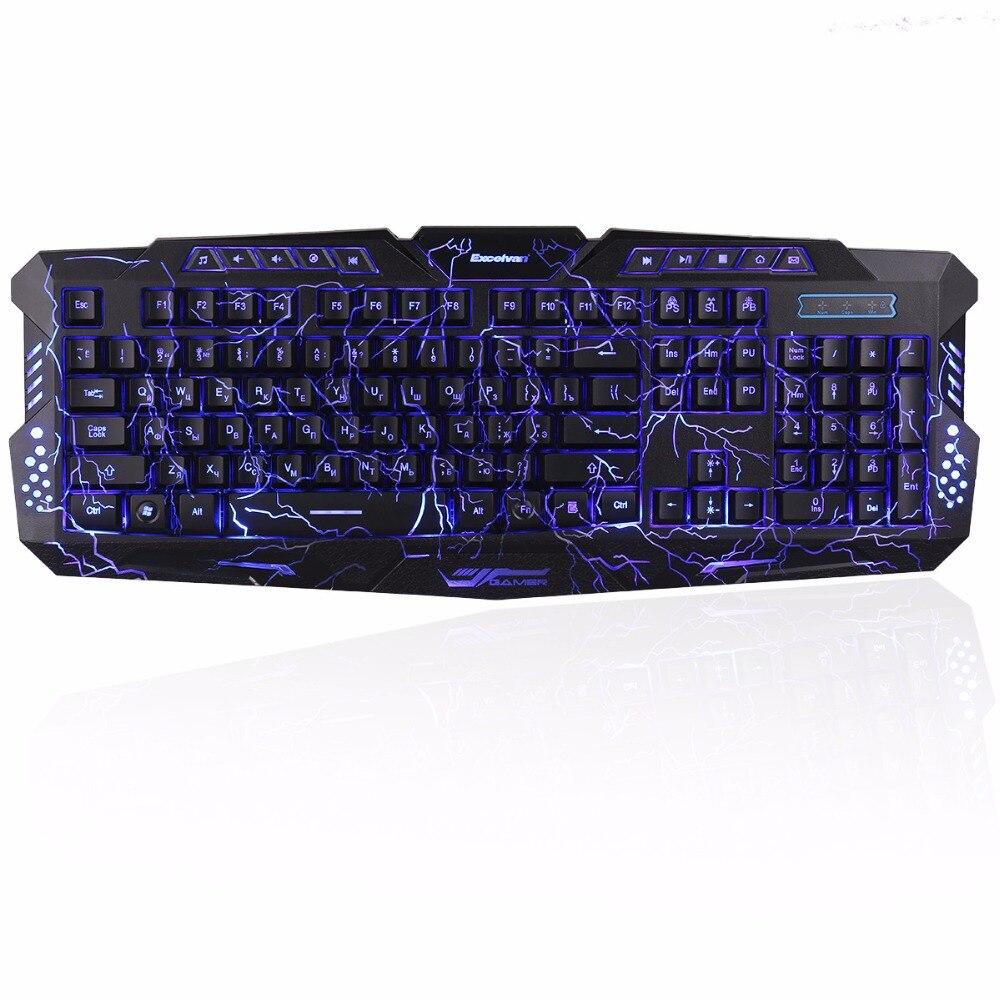 クリアランス!!! Sago RU在庫ロシアのゲーミングキーボード有線キーボード3バックライト付き色PCラップトップゲーマーdarshion m300