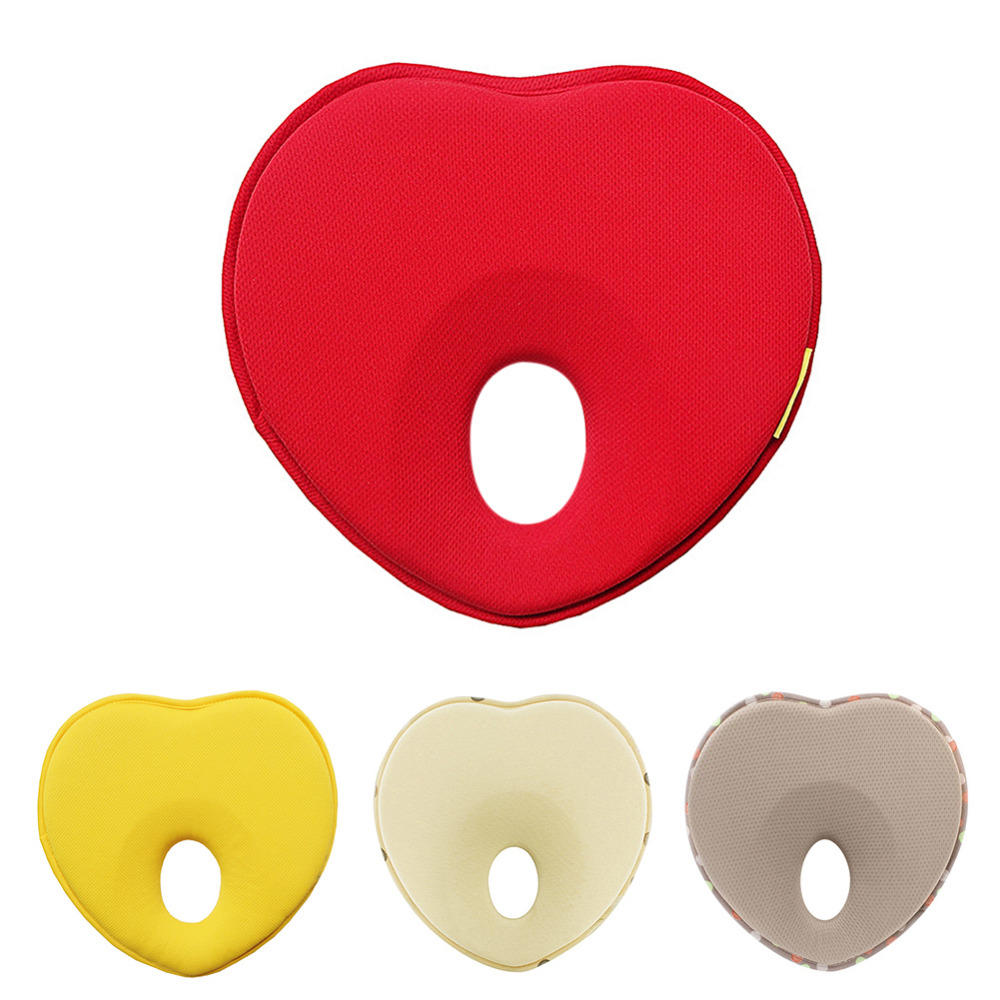 Newborn Memory Pillow Prevention Flat Head Correction Head Shaping Heart-shaped Pillow for 0-18 Months Baby Comfortable Sleeping