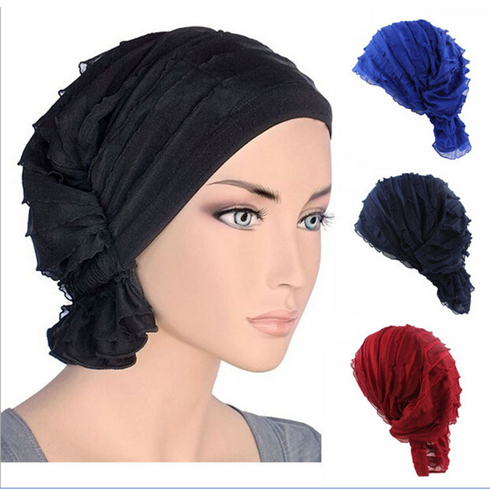 5pcs/lot Muslim Pile Caps Headscarf Bubble Plain Hats Turban Turbante Skullies Beanies Beanie Indian hat Chemotherapy Cap Bulk leather skullies cap hats 5pcs lot 2278