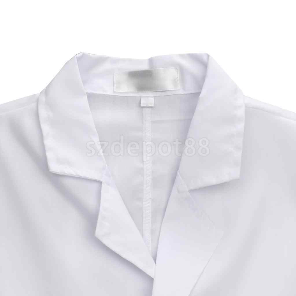 cbcae152a3e ... Men Scrubs White Lab Coat Medical Nurse Doctor Uniform Lapel Collar  Long Sleeve ...