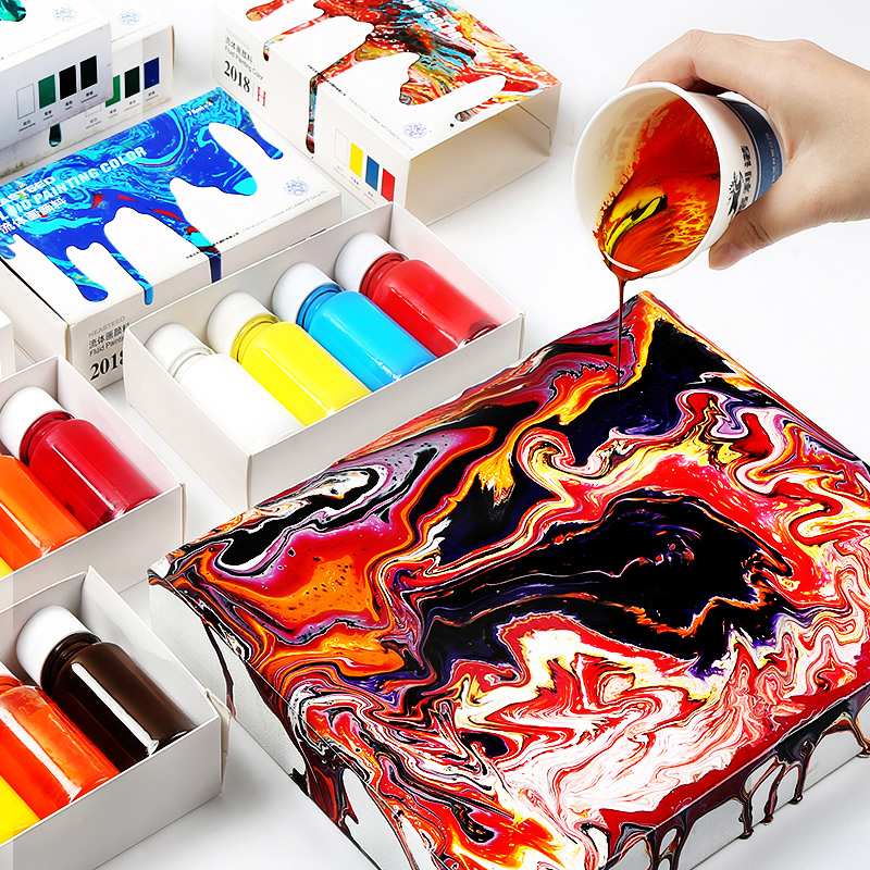 4color/set Fluid Paint Creative Liquid Painting Decorative Liquid DIY Hand-painted Drawing Acrylic Liquid Paint Art Tools