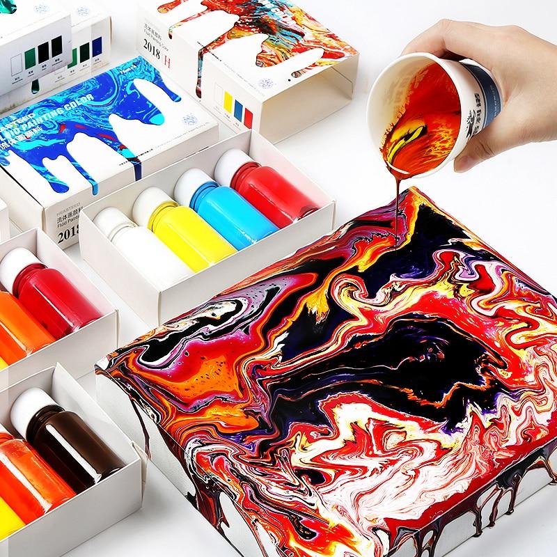 4color/set Fluid Paint Creative Liquid Painting Decorative Liquid DIY Hand-painted Drawing Acrylic Liquid Paint Art Tools