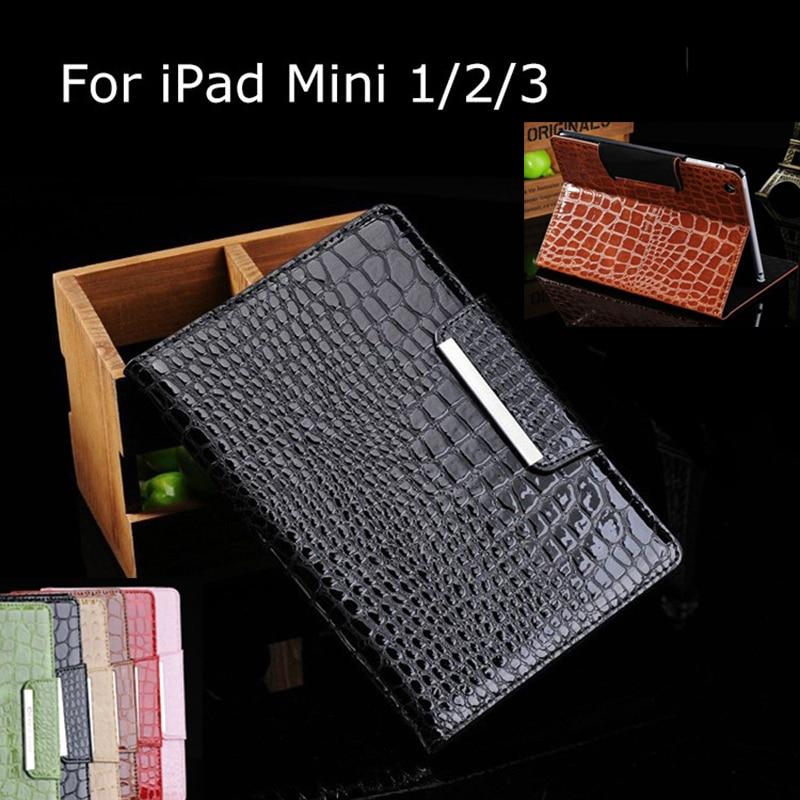 Fashion Crocodile Leather Cover Case for iPad Mini Stand Case Cover for iPad Mini Retina Luxury Coque Capa Para for iPad Mini 3