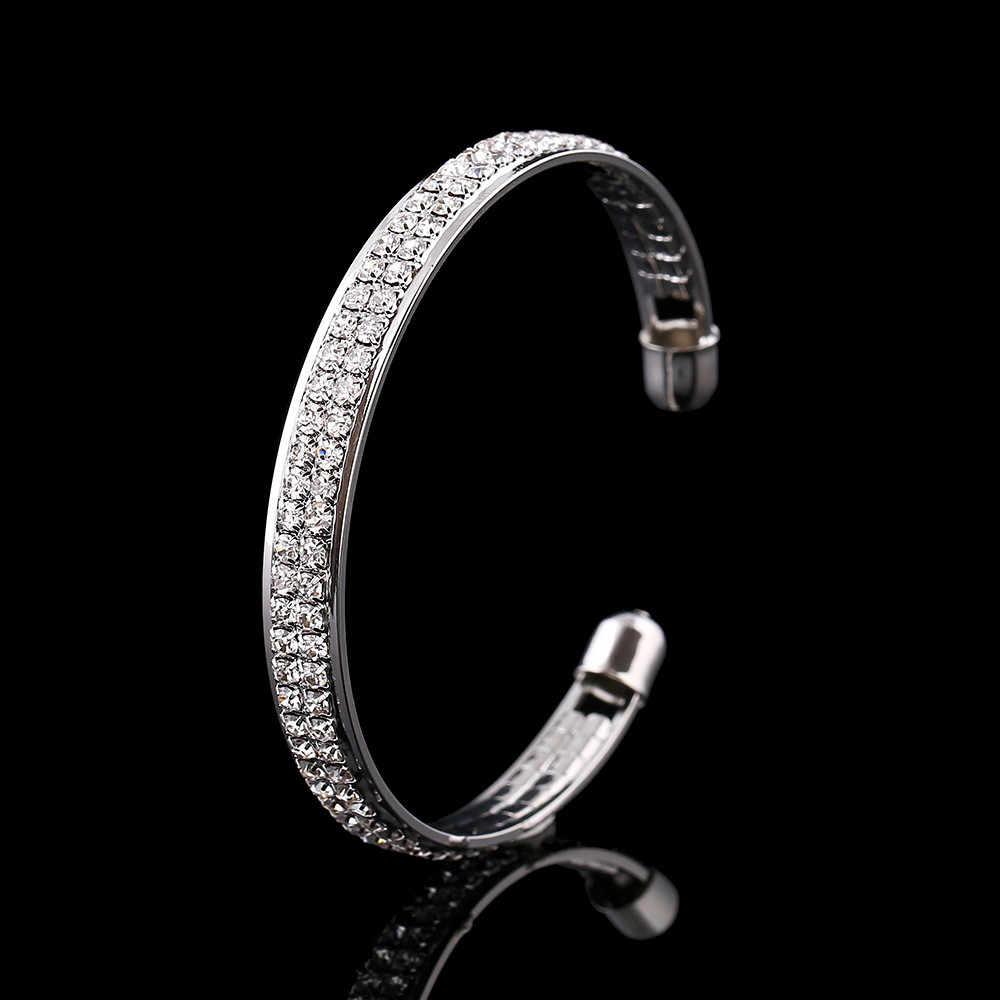 Wanita Fashion Emas Kristal Berlian Imitasi Buka Manset Gelang Perhiasan Hadiah Valentine Gelang Ornamen Indah Gelang